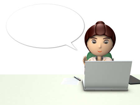 Business woman character in front of laptop computer...  She explains something. 3D illustration. White background.