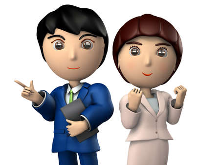 Young businesswomen who are refreshing and businessmen are lining up. They are symbols of partnership.  3D illustration