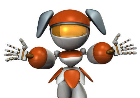 A cute robot that spreads both hands and welcomes... 3D illustration. 写真素材