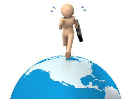 A busy businessman. He travels all over the world. White background. 3D illustration 写真素材