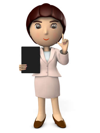 A young woman in suit with a tablet terminal to explain. A working woman. White background. 3D illustration