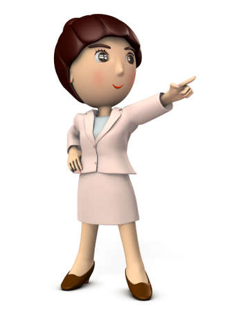 A young woman pointing at the goal. She is wearing a suit. High angle, 3D illustration 写真素材