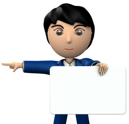 A young businessman holding a message board. She points to the left side. 3D illustration