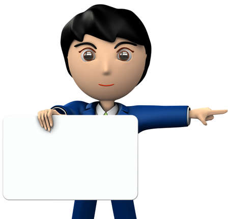 A young businessman holding a message board. She points to the right side. 3D illustration 写真素材