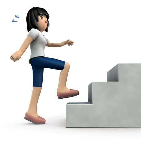 Young woman going up the stairs. She is exercising for health. White background. 3D illustration. 写真素材