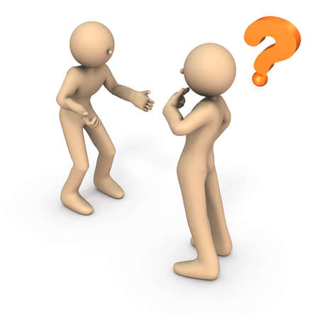 Two people who face each other. One is angry and  making a claim. The other is puzzled. White background. 3D illustration. Stock Photo