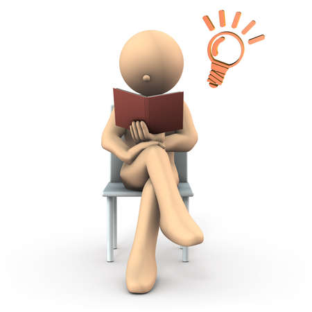 The character is reading. The person to be legged. White background. 3D illustration.