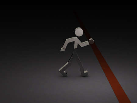 A character trying to cross the border. Abstract concept. 3D illustration.