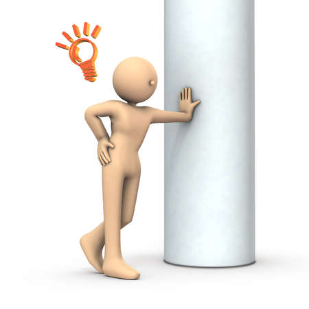 A person leaning on a pillar. He is happy to remember something. White background. 3D illustration.