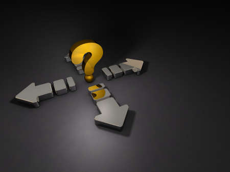 A large question mark and arrows extending around it. 3D illustration.