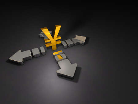 A currency symbol and a big arrow that extends in four directions. It represents economic uncertainty. 3D illustration.