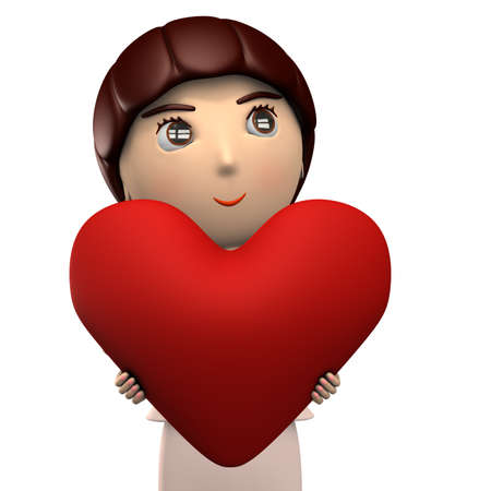 Young woman holding a big heart shape. She is wearing a suit. Abstract concept. 3D illustration.