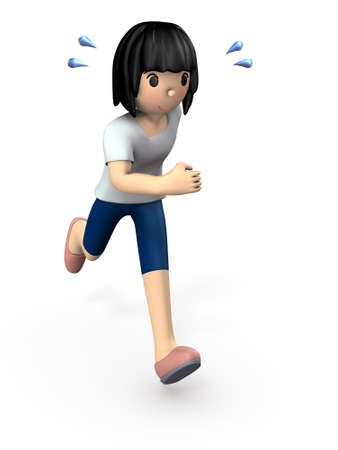 Young woman wearing sportswear. She enjoys running for good health. White background. 3D illustration.