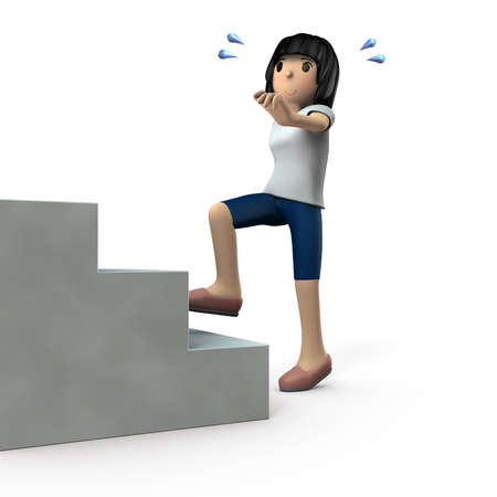 Young woman going up the stairs. She is exercising for health. White background. 3D illustration. Imagens