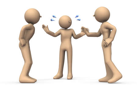 Three people who gather and talk. One of them is arbitrating. Another persons are jealous. White background. 3D illustration.