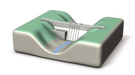 A miniature model of a dam. It stores little water. White background. 3D illustration. 版權商用圖片