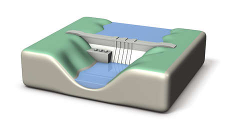 A miniature model of a dam. It stores a lot of water. White background. 3D illustration. Imagens