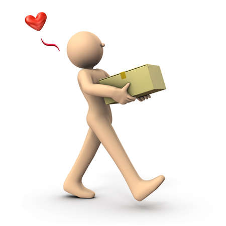 A character carrying a cardboard box. He received the goods received. White background. 3D illustration.