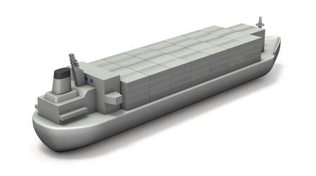 A miniature model of a cargo ship full of containers. White background. 3D illustration.