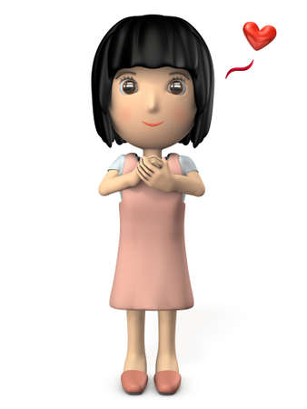 Young woman wearing a pink apron. Asian. White background. 3D illustration.