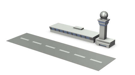 Miniature airport. It is a rendering illustration of a simple model. White background. 3D illustration. 写真素材 - 126035718