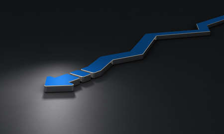 Arrow meandering to the left to the right. It represents twists and turns.  Dark background. 3D illustration.
