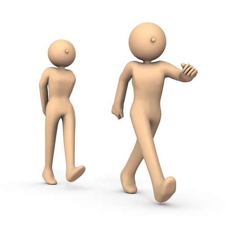 A person who walks with a follower. He looks dignified. White background. 3D illustration
