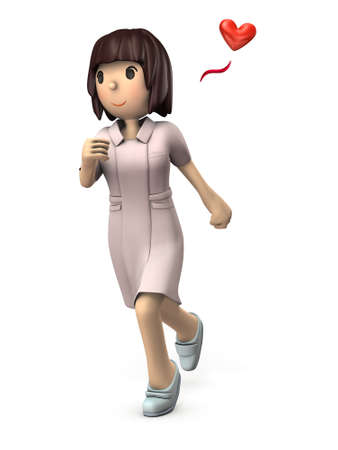Young female nurse. She is rushing fast. White background. 3D illustration