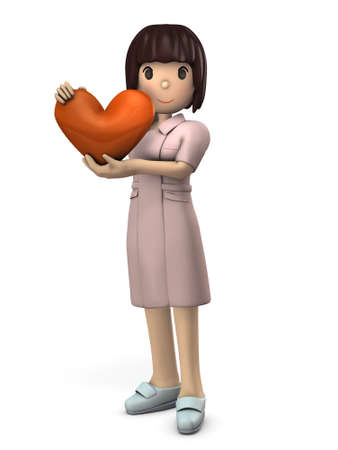 Young nurse holding a Heart mark. She expresses the heart of hospitality. White background. 3D illustration.