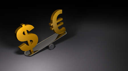 Two currency symbols placed on a large seesaw. A 3DCG illustration that represents the value of a currency. Dark background. 3D illustration.