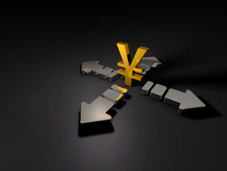 Grandes flèches et symbole monétaire. Résumé CG représentant l'économie précaire. Fond sombre. illustration 3D.