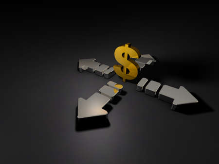 Big arrows and currency symbol. Abstract CG representing the uneasy economy. Dark background. 3D illustration. Stock Photo