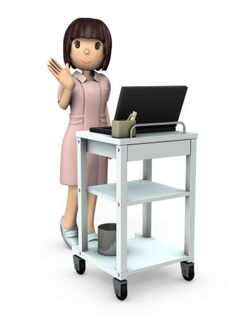 A young nurse patrols using a medical wagon. White background. 3D illustration.