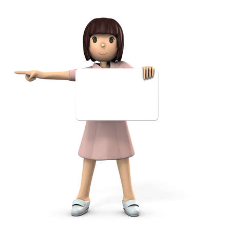 Young female nurse holding a big message board. White h background. 3D illustration.