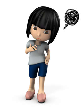 Grumpy young woman. She is depressed. White background. 3D illustration. 写真素材 - 126036031