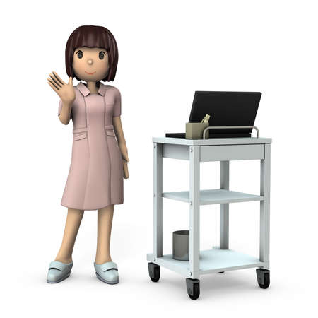 Young female nurse standing by medical wagon. White background. 3D illustration