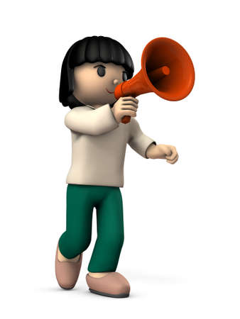 A girl with a hand microphone. She is appealing for something. White background. 3D illustration 写真素材 - 126036034