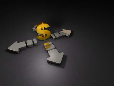 Big arrows and currency symbol. Abstract CG representing the uneasy economy. Dark background. 3D illustration. 写真素材