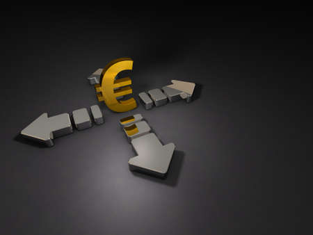 Big arrows and currency symbol. Abstract CG representing the uneasy economy. Dark background. 3D illustration. 写真素材 - 126036118