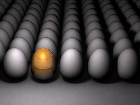 Golden sparkling egg. It expresses its potential. Dim background. 3D illustration Фото со стока