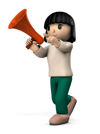 A girl with a hand microphone. She is appealing for something. White background. 3D illustration