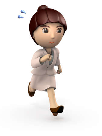 A young business woman is an activity. Shes a cute Asian. 3D illustration