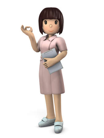 Young female nurse giving ok sign. She looks kind. White background. 3D illustration.