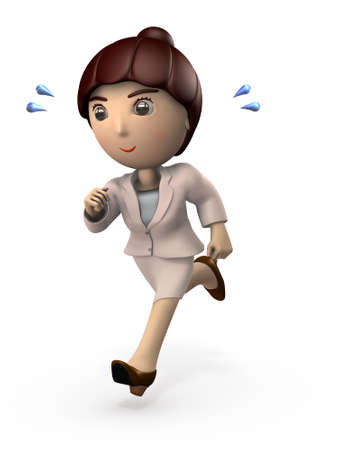 Young Asian woman in a suit. She is running busy. White background. 3D illustration.