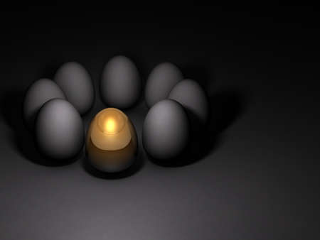 A gold egg that stand out among others. Dark background. 3D illustration.