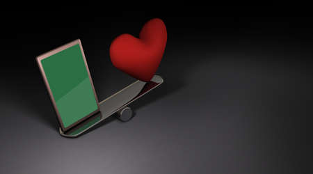 Smart phone and heart symbol on a seesaw. It expresses the darkness of the modern persons mind that depends on the Internet. Dark background. 3D illustration.