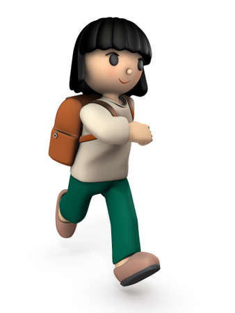 A girl child who walks energetically. She goes to school happily. White background. 3D illustration.