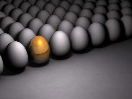 Golden sparkling egg. It expresses its potential. Dim background. 3D illustration Stock Photo