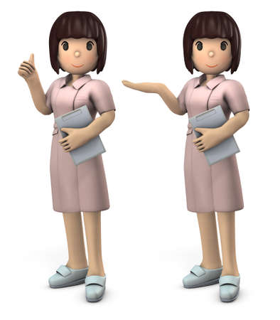 Young Asian Female Nurse. She expresses peace of mind and hospitality. White background. 3D illustration.
