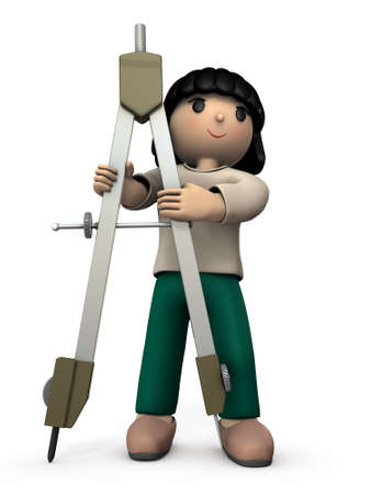 A girl with a big compass. She looks happy to study. White background. 3D illustration.